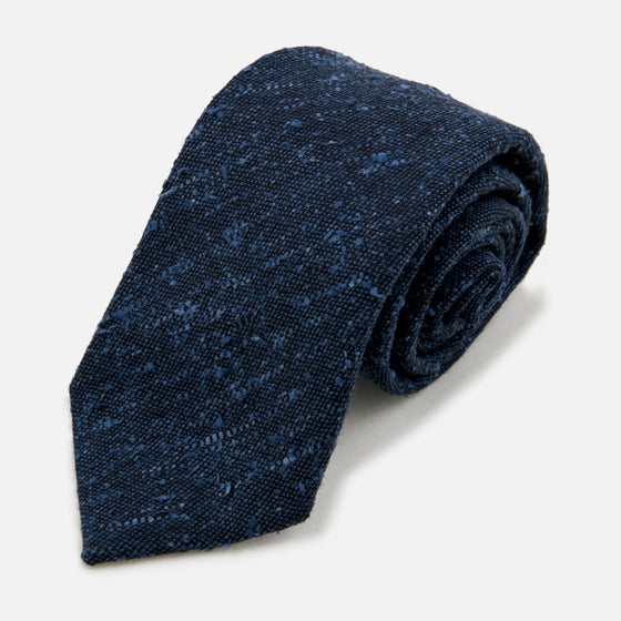 seaward stearn flecked solid tie silk wool blue