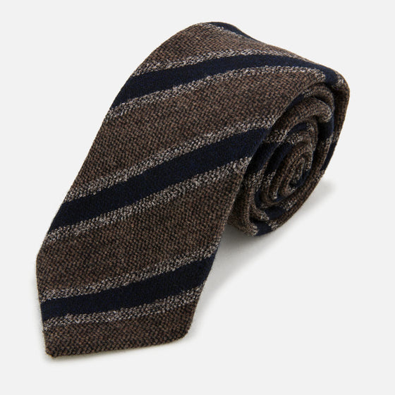 seaward stearn wool striped tie brown navy