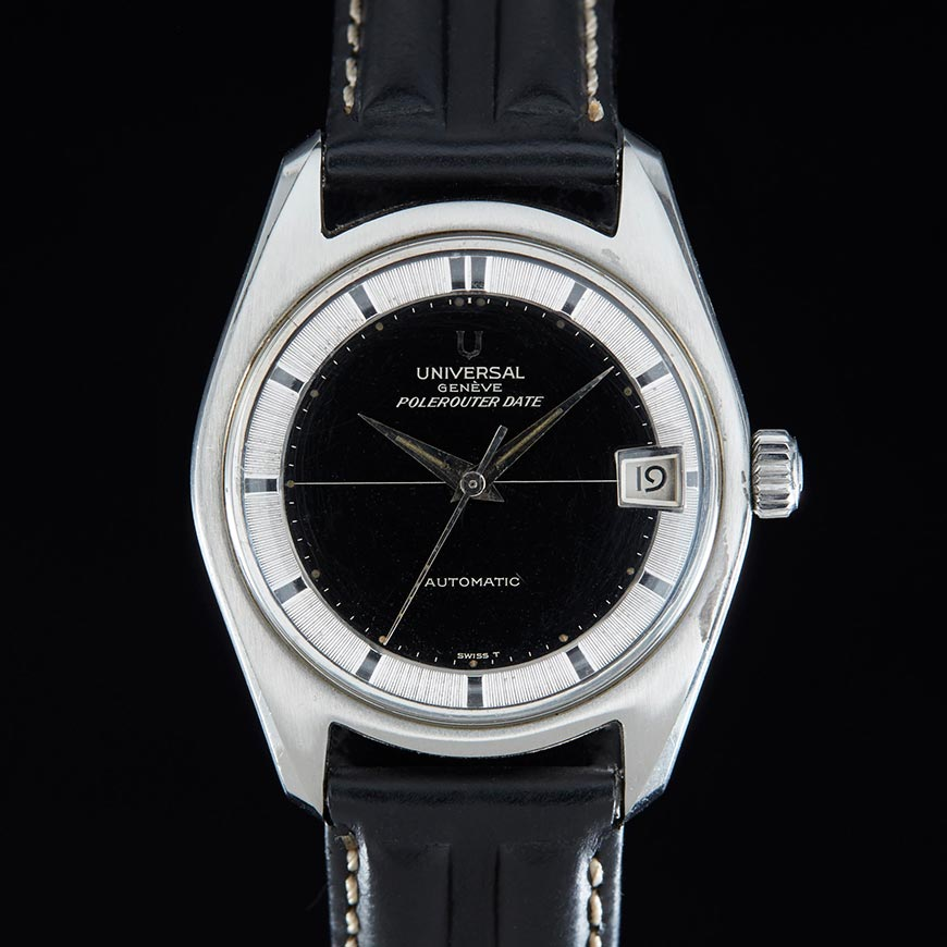 universal geneve polerouter date vintage watch