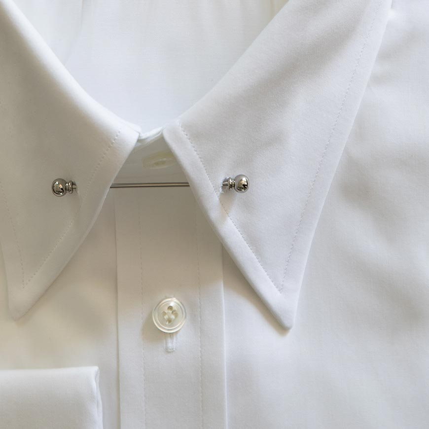 pin collar shirt slim fit white