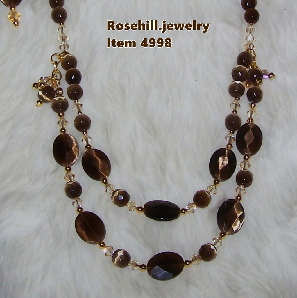 4998 CATS EYE BROWN BEAD  NECKLACE AND EARRING JEWELRY SET ITEM # 4998
