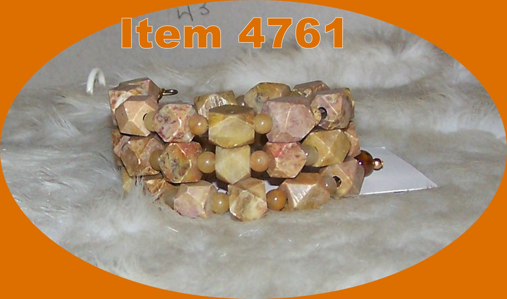4761 SOAPSTONE CARVED GEMS MEMORY WIRE  BRACELET ITEM # 4761