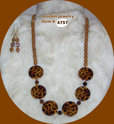 4757  LEOPARD SKIN BEADS  - CAMEL JASPER (N)  JEWELRY SET ITEM # 4757