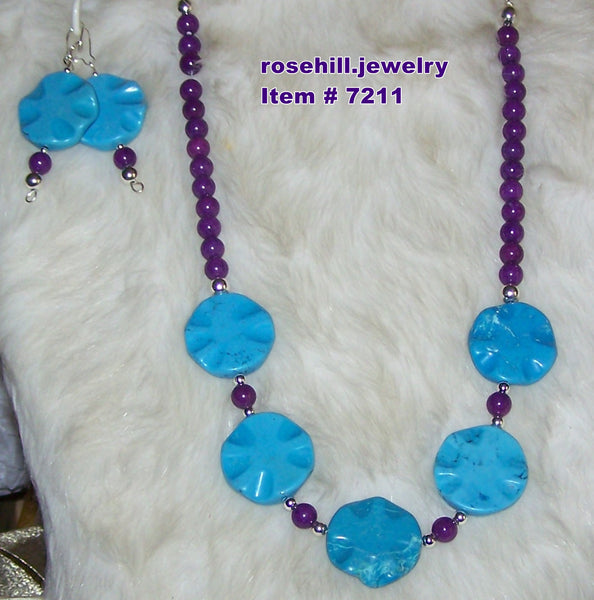 7211 TURQUOISE PORCELAIN & PURPLE JADE (D) JEWELRY SET 2 PC. ITEM 7211