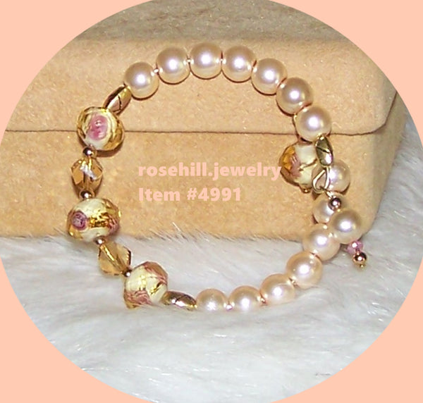 4991 IVORY GLASS PEARLS & LAMP WORK PINK FLORAL CHILD/GIRL'S NECKLACE & BRACELET  SET  ITEM # 4991