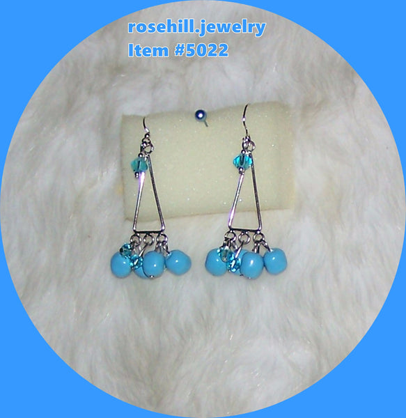 5022  EARRINGS CHANDLEIER  SWAROVSKI PEARLS TURQUOISE   ITEM 5022