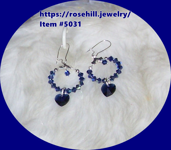 5031  SWAROVSKI CRYSTAL ROYAL BLUE HEARTS EARRINGS  ITEM # 5031