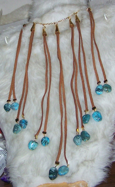 7224 WESTERN WEAR SUEDE LACE & TURQUOISE NUGGET  NECKLACE  ITEM # 7224