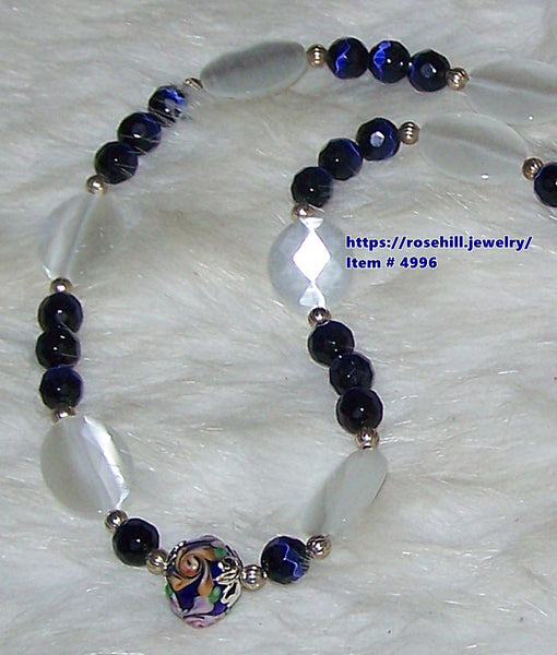 4996 ROYAL BLUE & WHITE CATS EYE FACETED BEADS  NECKLACE & EARRINGS SET  ITEM # 4996