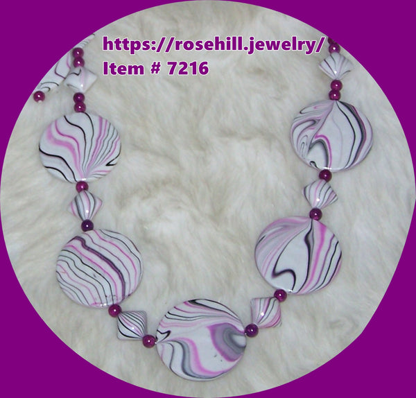 7216 PURPLE STRIPE ACRYLIC NECKLACE AND EARRINGS SET  HANDMADE JEWELRY SET ITEM   # 7216