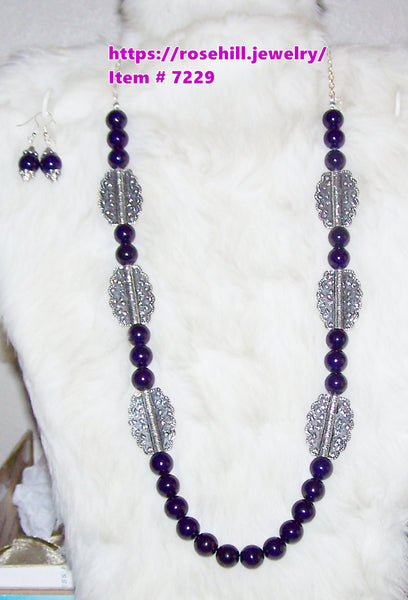 7229 PURPLE GEMSTONE  HANDMADE JEWELRY SET ITEM # 7229