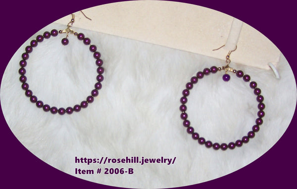 5006-B  BLACKBERRY PURPLE LARGE HOOP EARRINGS  ITEM # 5006B