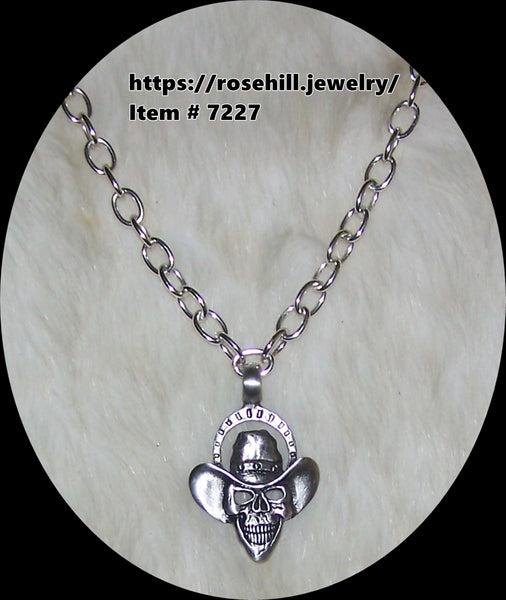 7227  MEN'S CHAIN & COWBOY SKULL NECKLACE ITEM # 7227