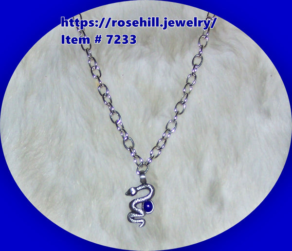 7233 MEN'S CHAIN & COWBOY INLAID STONE SNAKE NECKLACE ITEM # 7337