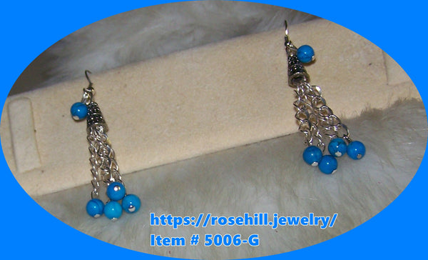 5006-G CHANDELIER  TURQUOISE JADE EARRINGS ITEM #5006-G