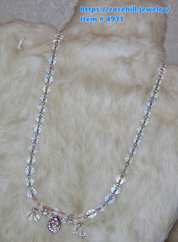 4971  NECKLACE AURORA BOREALIS SWAROVSKI CRYSTALS PEARLS   ITEM 4971