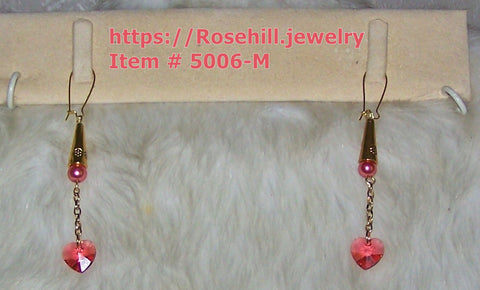 5006-M EARRINGS DANGLE STYLE PINK HEARTS HANDMADE  EARRINGS ITEM # 5006 -M