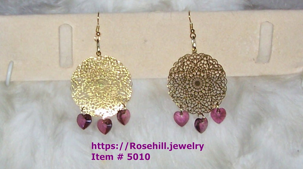 5010 EARRINGS DANGLE STYLE LASER LACE GOLD PLATE PURPLE CRYSTAL  HANDMADE  ITEM # 5010