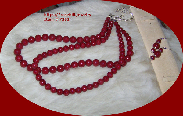 7252 CHERRY RED  MOUNTAIN JADE (D) BEADS DOUBLE STRAND NECKLACE - EARRING SET ITEM # 7252