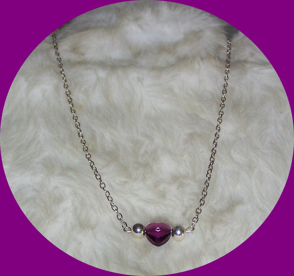 7255  ANTIQUE SILVER PLATE CHAIN  HEART CRYSTAL PURPLE NECKLACE  ITEM # 7255