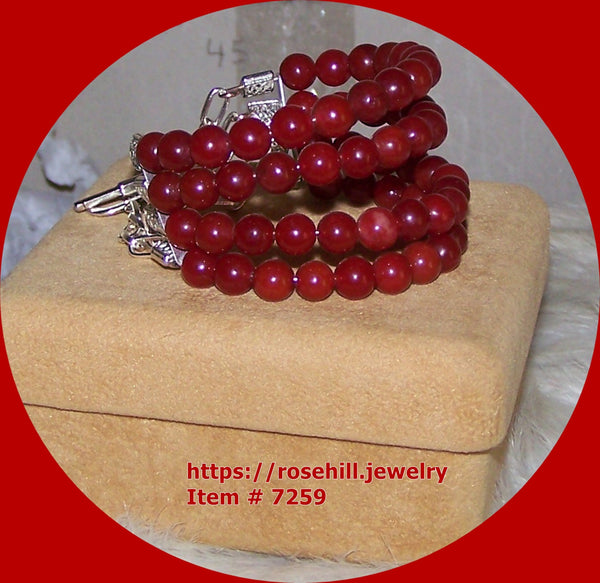 7259 CHERRY RED AGATE GEMSTONE BEADS 4 STRAND BRACELET MEMORY WIRE  ITEM # 7259