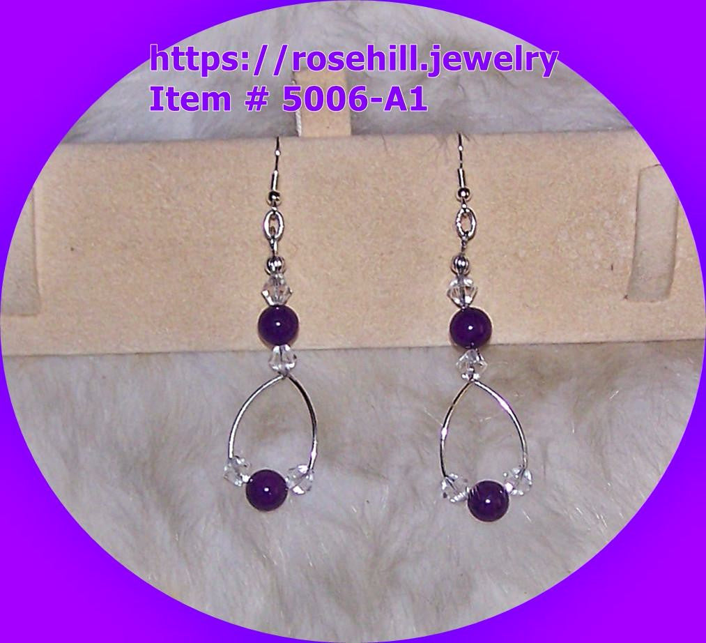 5006 A-1  CHANDELIER PURPLE MOUNTAIN JADE EARRINGS ITEM #5006-A-1