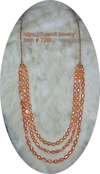 7265 PEACH FRESHWATER PEARL 3 STRAND NECKLACE - ITEM # 7265
