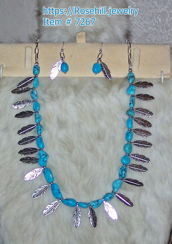 7267  TURQUOISE (S)(D)  GEMSTONE & FEATHER NECKLACE  ITEM #7267