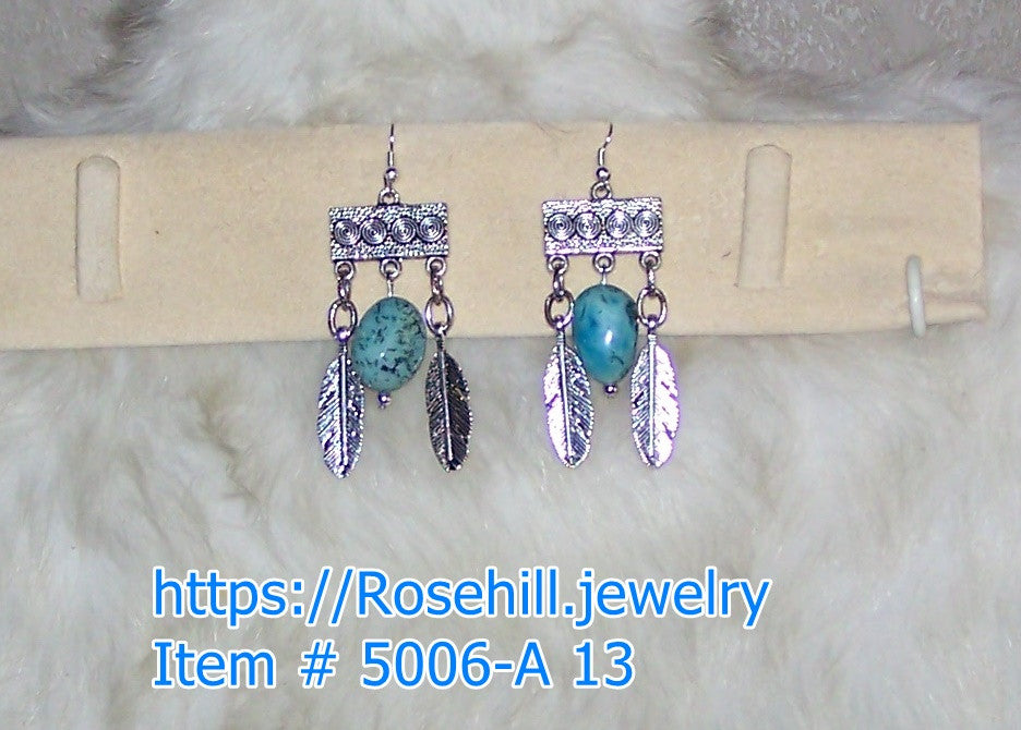 5006 A-13 CHANDELIER  TURQUOISE HOWLITE EARRINGS ITEM #5006-A -13