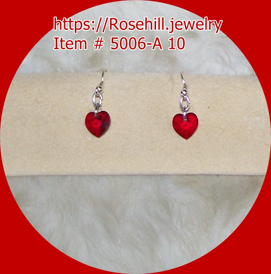 5006 A-10 CHANDELIER RED HEARTS SWAROVSKI CRYSTALS EARRINGS ITEM #5006-A-10