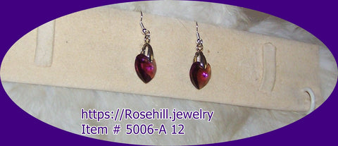 5006 A-12  CHANDELIER PURPLE HEARTS SWAROVSKI CRYSTALS EARRINGS ITEM #5006-A-12