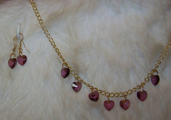 7249 GOLD PLATE CHAIN  HEARTS  CRYSTAL PURPLE NECKLACE  SET ITEM # 7249