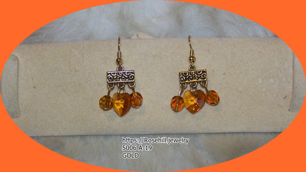 5006 A-15  - A20  PURPLE HEARTS SWAROVSKI CRYSTALS EARRINGS ITEM #5006-A-15 -A20