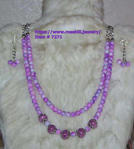7271 PURPLE MARBLE & LAMP WORK BEADS DOUBLE STRAND NECKLACE   RUBY'S ROAD HOME DONATE          ITEM # 7271