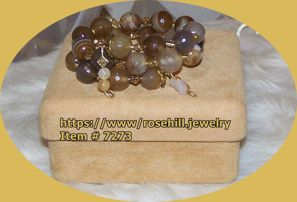 7273 BROWN STRIPE BROWN AGATE MEMORY WIRE BRACELET  ITEM # 7273