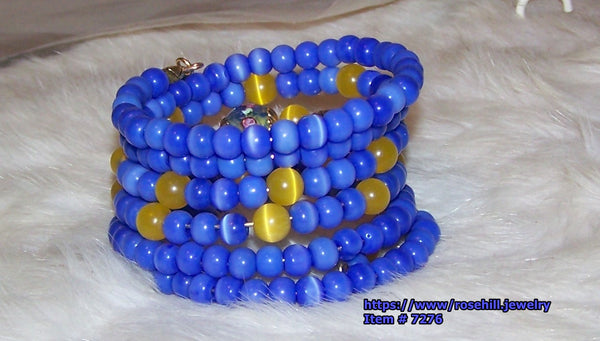 7276  MEMORY WIRE BRACELET BLUE & YELLOW CATSEYE BEADS   RUBY'S ROAD HOME DONATE          ITEM # 72767
