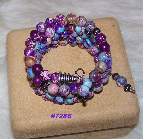 7286 MEMORY WIRE BRACELET PURPLE - TURQUOISE CRAZY LACE AGATE     # 7286