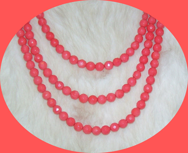 7289 RED CORAL 3 STRAND GEMSTONE HANDMADE NECKLACE & EARRING SET  ITEM #7289