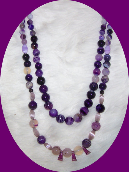 7247  DOUBLE STRAND AMETHYST PURPLE & CRYSTAL NECKLACE ITEM #7247