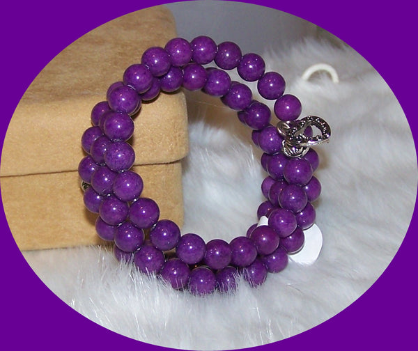 7292 LILAC PURPLE GLASS PEARL BEADS MEMORY WIRE  BRACELET HANDMADE ITEM # 7292