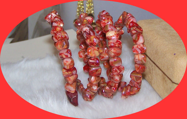 7209 COPPER RED RESIN & MOP MEMORY WIRE BRACELET  ITEM # 7209