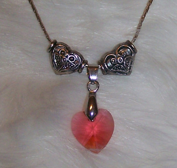 7261 SILVER PLATE CHAIN  HEART CRYSTAL PINK-PEACH NECKLACE  GIRLS ITEM # 7261