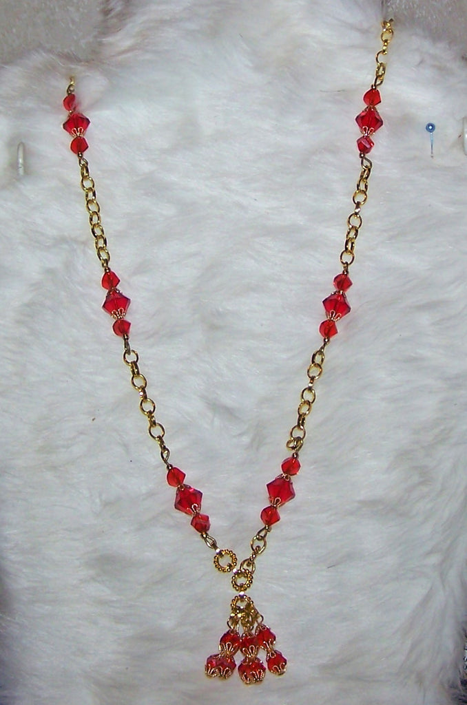 4722 HANDMADE  RED SWAROVSKI CRYSTAL NECKLACE   ITEM # 4722