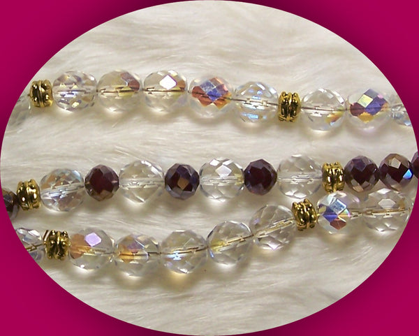 4613 HAND CRAFTED THREE STRAND BRACELET - AREOLA BOREALIS  CRYSTALS  ITEM # 4613