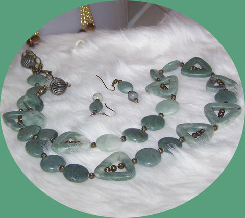 4829 GREEN LINE MARBLE  GEMSTONE NECKLACE JEWELRY SET ITEM # 4829