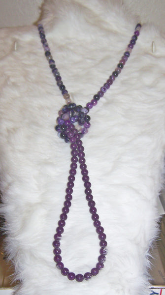 7322 PURPLE AMETHYST ROPE NECKLACE HAND MADE  ITEM # 7322