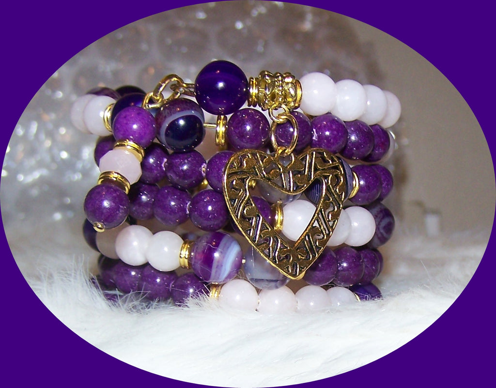 Copy of 7324B AMETHYST STRIPE & PINK BLUSH  MEMORY WIRE  BRACELET HANDMADE ITEM # 7324 B