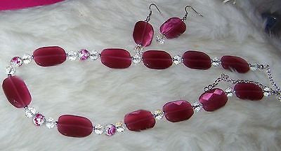5001-02 PINK CATS EYE FUCHSIA NECKLACE & EARRING SET - ITEM 5001-PINK