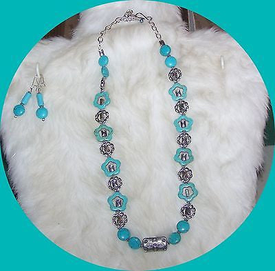 4873 HOWLITE TURQUOISE (S) GEMSTONE JEWELRY SET 2 PC. ITEM 4873