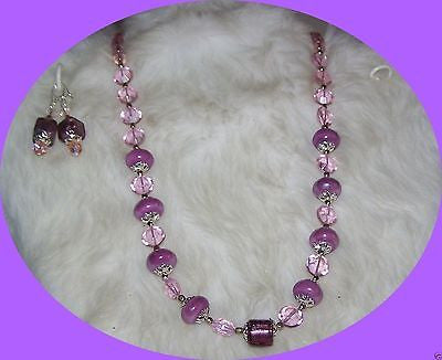 4974 HANDMADE LILAC MAUVE GLASS BEADS & LAMPWORK JEWELRY SET ITEM # 4974